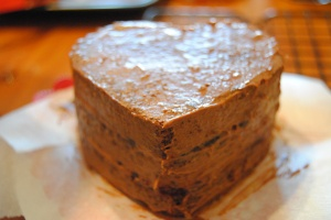 add the last/ top layer and spread a thin coat of icing around the whole cake. set in the refrigerator for 30 minutes