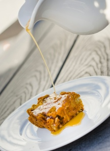 Pumpkin Bread Pudding with Sauce